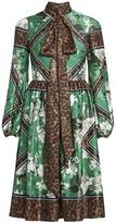Erdem Medina Rose Wallpaper & Leopard-Print Midi Dress