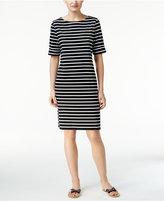 Karen Scott Petite Cotton Striped T-Shirt Dress, Created for Macy's