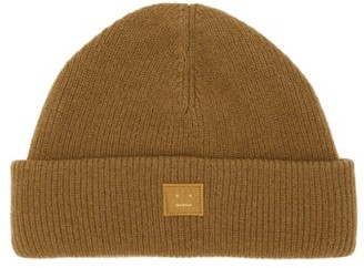 Acne Studios Kansy Face Ribbed Wool-blend Beanie - Mens - Brown