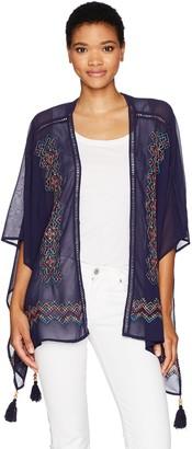 Taylor & Sage Women's Tassel Tip Embroidered Kimono