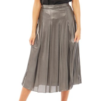 Ted Baker Womens Lauraa Silver Foilpleated Midi Skirt Charcoal