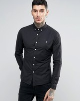 Asos Skinny Casual Oxford Shirt With Logo In Navy