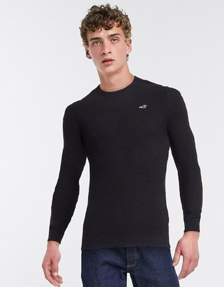 Hollister lightweight muscle fit crew neck knit jumper in navy