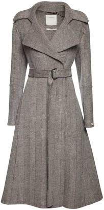 Sportmax Chevron Wool Belted Coat