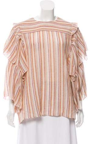 See by Chloe Striped Ruffle-Accented Top w/ Tags