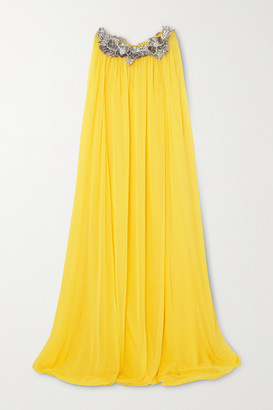 Oscar de la Renta Cape-effect Appliqued Silk-chiffon Gown - Yellow