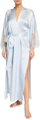 Christine Lingerie Silk Charmeuse Lace-Sleeve Long Robe
