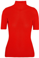 Victoria Beckham Ribbed Pointelle-knit Turtleneck Top - Tomato red