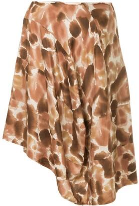 Comme des Garcons Pre-Owned petal-print asymmetric skirt