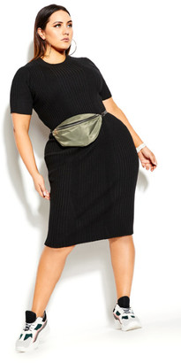 City Chic Sweater Rib Dress - black