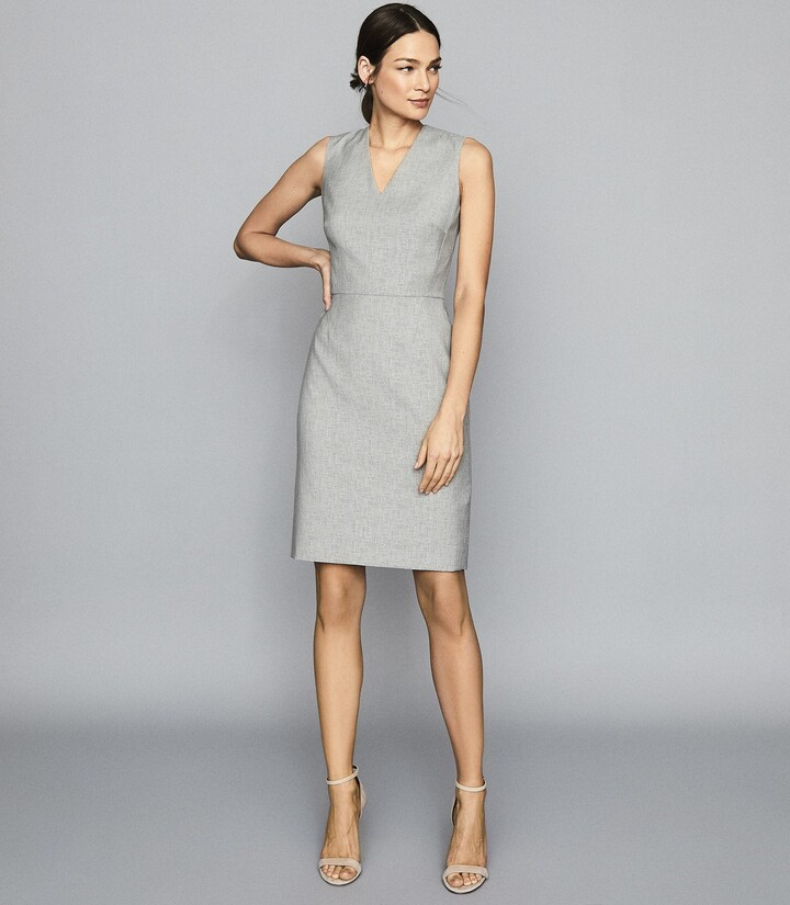 Reiss Thea - Wool Blend Tailored Dress in Grey