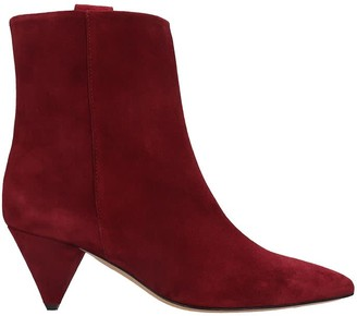 The Seller High Heels Ankle Boots In Bordeaux Suede