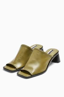 Topshop Womens Ness Khaki Soft Leather Mules - Khaki