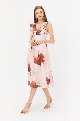Coast Burnout Floral Frill Midi Dress