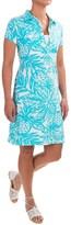 Caribbean Joe Printed and Textured Polo Dress - Short Sleeve (For Women)