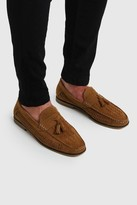 boohoo Mens Brown Faux Suede Woven Loafer, Brown