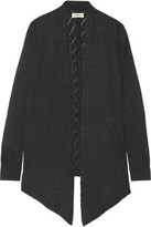 L'Agence Giorgia Open Knit-Trimmed Stretch-Knit Cardigan