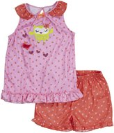 Petit Lem Owl Ballet 2 Piece Ruffle Short PJ Set (Toddler/Kids) - Multicolor-2