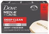 Dove Men+Care Body and Face Bar, Deep Clean 4 oz, 4 Bar