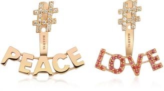 Marianna Yermakova #Peace #Love 18K Rose Gold, 0,28 Diamonds & 0.22 ctw Sunset Sapphire Earrings