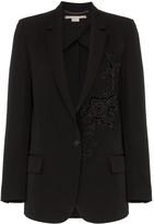 Stella McCartney Tonal flower embellished wool blazer