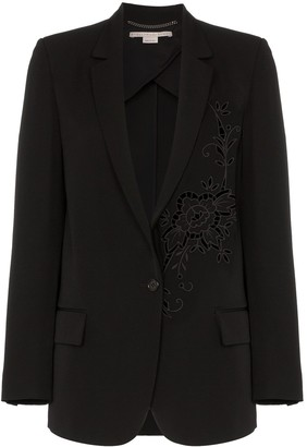 Stella McCartney Tonal flower embellished wool blazer