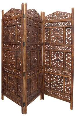 International Brass House Screen 3 Panel Room Divider International Brass House Color: Brown