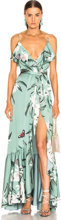 PatBO Orchid Print Maxi Wrap Dress in Jade | FWRD