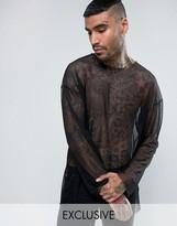 Reclaimed Vintage Inspired Mesh Oversized Long Sleeve T-Shirt In Black