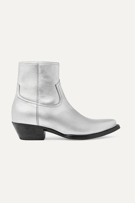 Saint Laurent Lukas Leather Ankle Boots - Silver