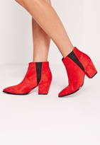 Missguided Red Faux Suede Pointed Toe Chelsea Boots