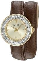 SO&CO New York Women's 5070.2 SoHo Quartz Crystal Accent Brown Wrap Around Leather Strap Watch