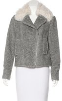 Rebecca Taylor Wool-Blend Shearling-Trimmed Jacket w/ Tags