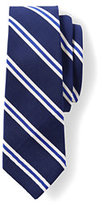 Lands' End Men's Long Silk Cotton Mogador Prep Stripe Necktie-Zesty Orange Stripe