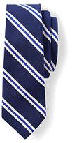 Lands' End Men's Silk Cotton Mogador Prep Stripe Necktie-Teal Floral Neat