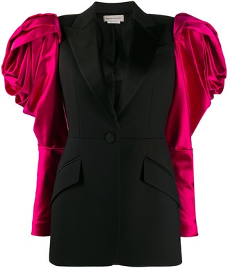 Alexander McQueen Exaggerated Shoulder Single-Breasted Blazer