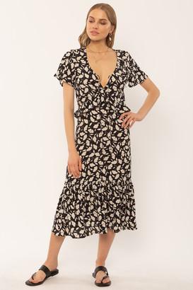 Amuse Society Scarlett Black Flower Dress - viscose | black | M . - Black/Black