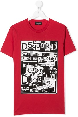 DSQUARED2 TEEN ransom note print T-shirt