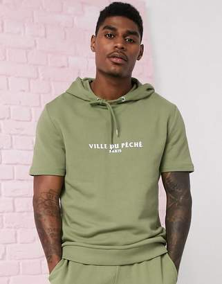 Asos Design DESIGN short sleeve tracksuit with hoodie in green
