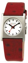 Mondaine Evo Cube White Dial SS Red Leather Ladies Watch A.658.30320.26SBC