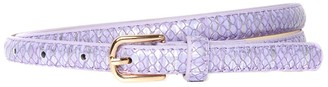 Accessoryo Lilac & Silver Snakeskin Effect Skinny Belt with Gold Buckle