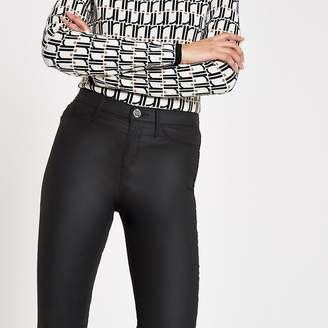 River Island Black coated Molly mid rise jeggings
