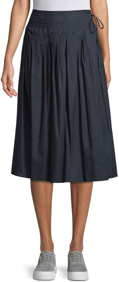 Vince Stitch-Pleated Wrap Skirt