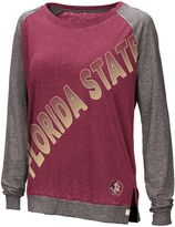 Colosseum Women's Garnet Florida State Seminoles Binding Diagonal Long Sleeve Raglan T-Shirt