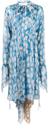 Lanvin Printed Tie-Neck Dress