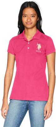 U.S. Polo Assn. Women's Neon Logos Short Sleeve Polo Shirt