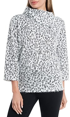Vince Camuto Fuzzy Animal Foldover Neck Sweater