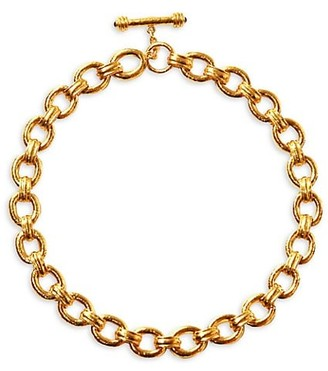 Elizabeth Locke Gold Borghese Hammered 19K Yellow Gold Large Oval-Link Chain Toggle Necklace