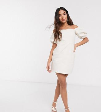 New Look Petite puff sleeve mini denim dress in cream