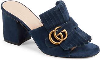 Gucci Marmont Suede Fringe Slide Sandals